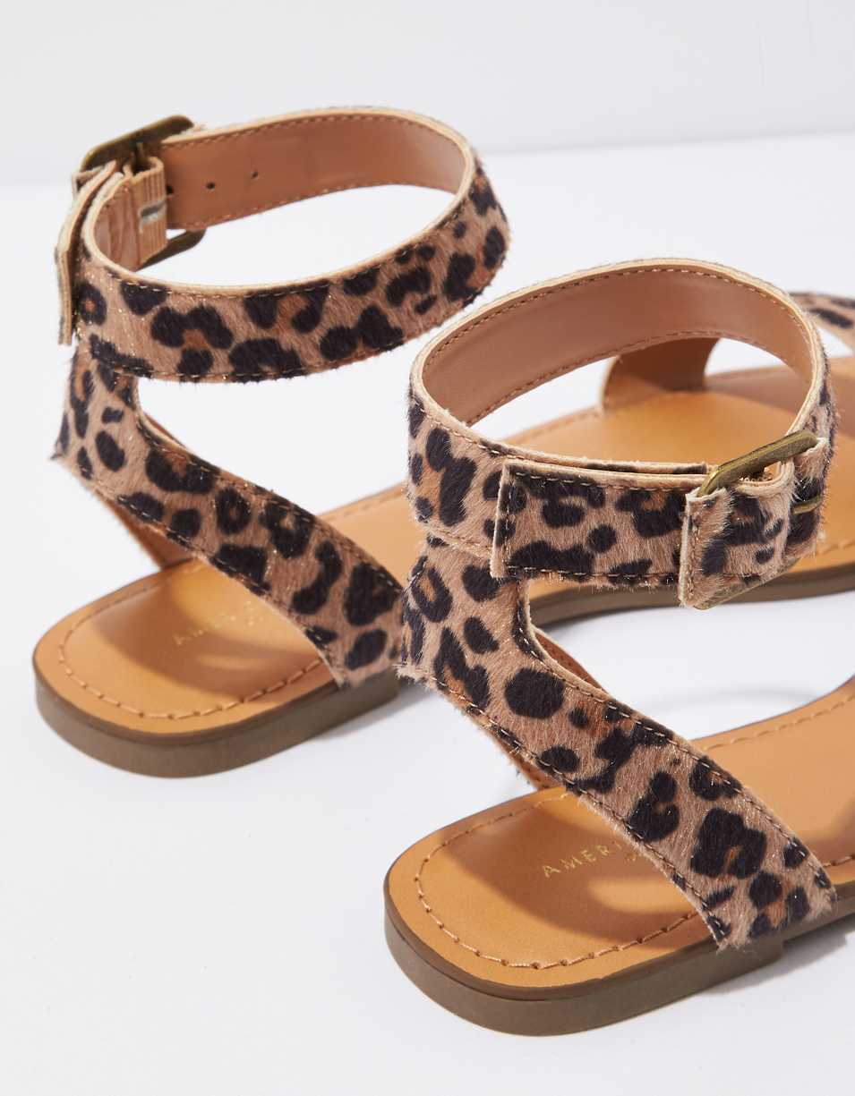 AE Leopard Ankle Strap Sandal