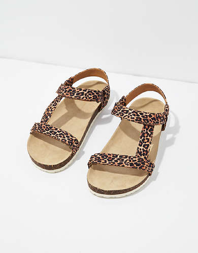 AE Leopard T-Strap Sandal