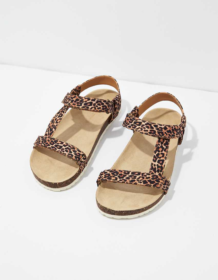 .99 AE Leopard T-Strap Sandal + Free shipping at  at American Eagle!