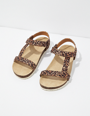 AE Leopard T-Strap Sandal