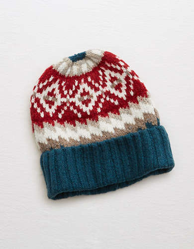 AEO Colorful Sweater Pattern Beanie -