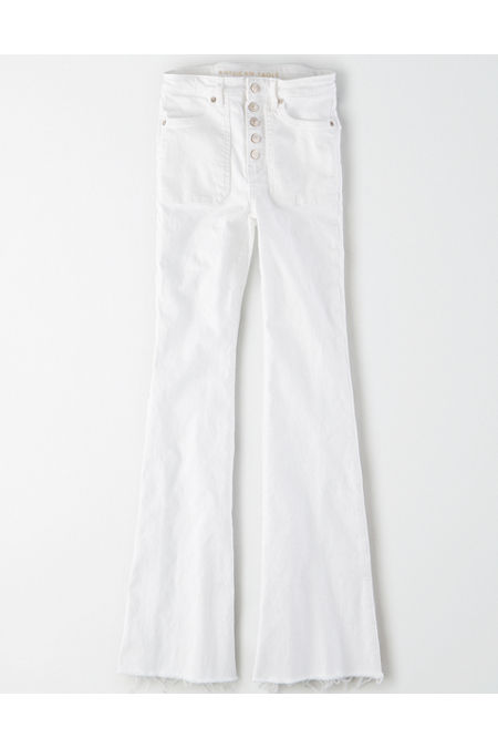 Hippie Pants, Jeans, Bell Bottoms, Palazzo, Yoga AE Super High-Waisted Flare Jean Womens White 14 X-Long $24.97 AT vintagedancer.com