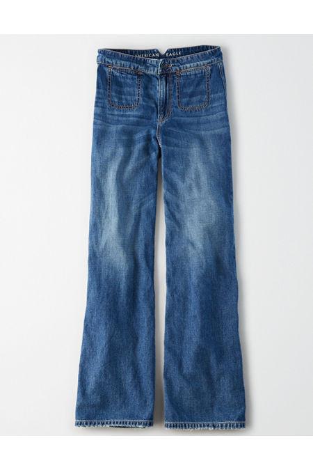 60s – 70s Pants, Jeans, Hippie, Bell Bottoms, Jumpsuits Wide Leg Jean Womens Vintage Sail 14 X-Long $35.97 AT vintagedancer.com