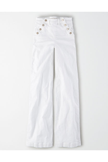 Sailor Dresses, Nautical Theme Dress, WW2 Dresses AE Wide Leg Jean Womens Fresh White 14 X-Long $29.99 AT vintagedancer.com