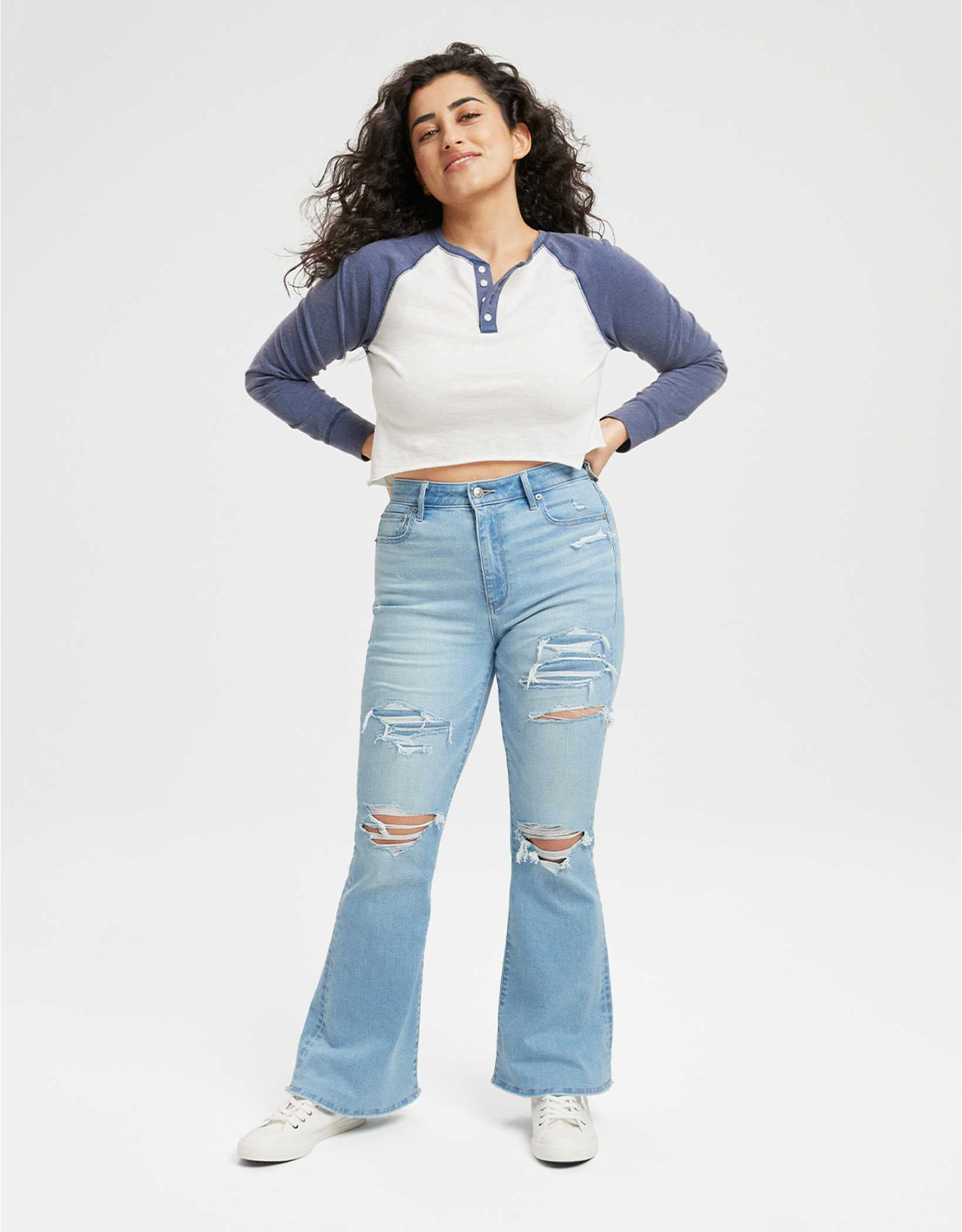 AE Ripped Super High-Waisted Flare Jean