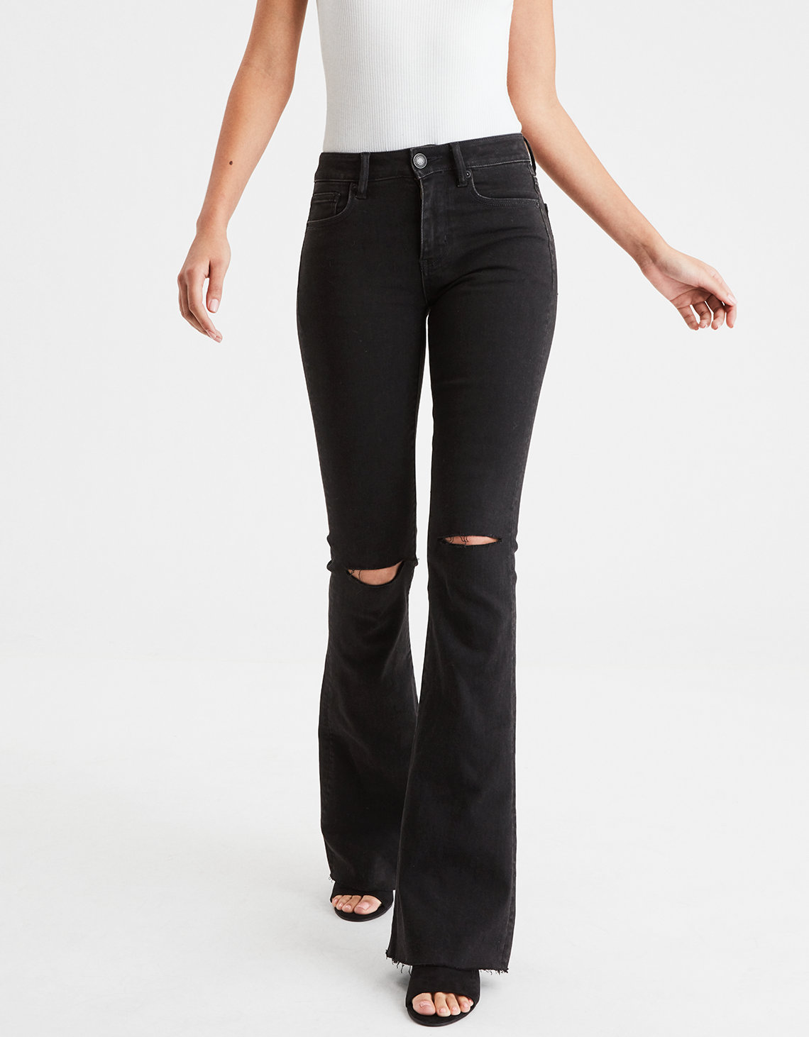 Ae Denim X High Waisted Slim Flare Jean Rich Oil Black American