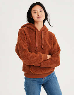 Ae Fuzzy Teddy Sherpa Hoodie by American Eagle Outfitters
