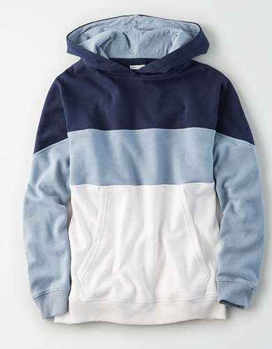 AE Fleece Color Block Drop Shoulder Hoodie