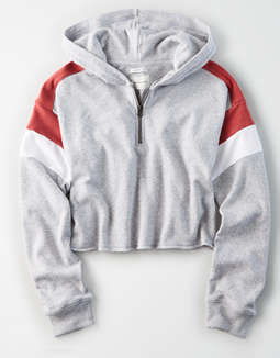 Ae Colorblock Quarter Zip Hoodie by American Eagle Outfitters
