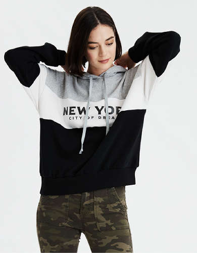 AE Fleece NY Graphic Oversized Hoodie
