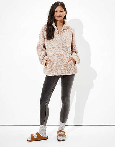 AE Sherpa Cinched Quarter Zip Up Sweatshirt