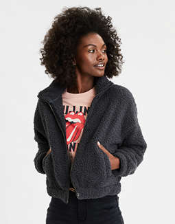 AE Sherpa Mock Neck Zip Up Sweatshirt