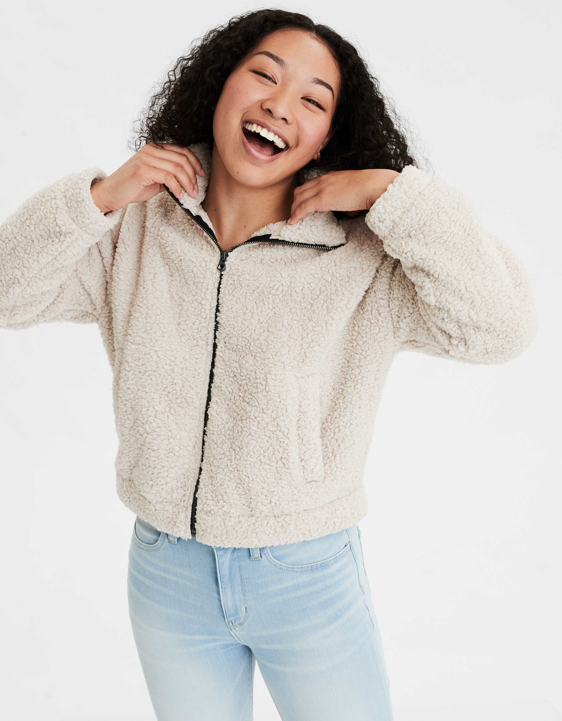 AE Fuzzy Sherpa Zip Up Sweatshirt