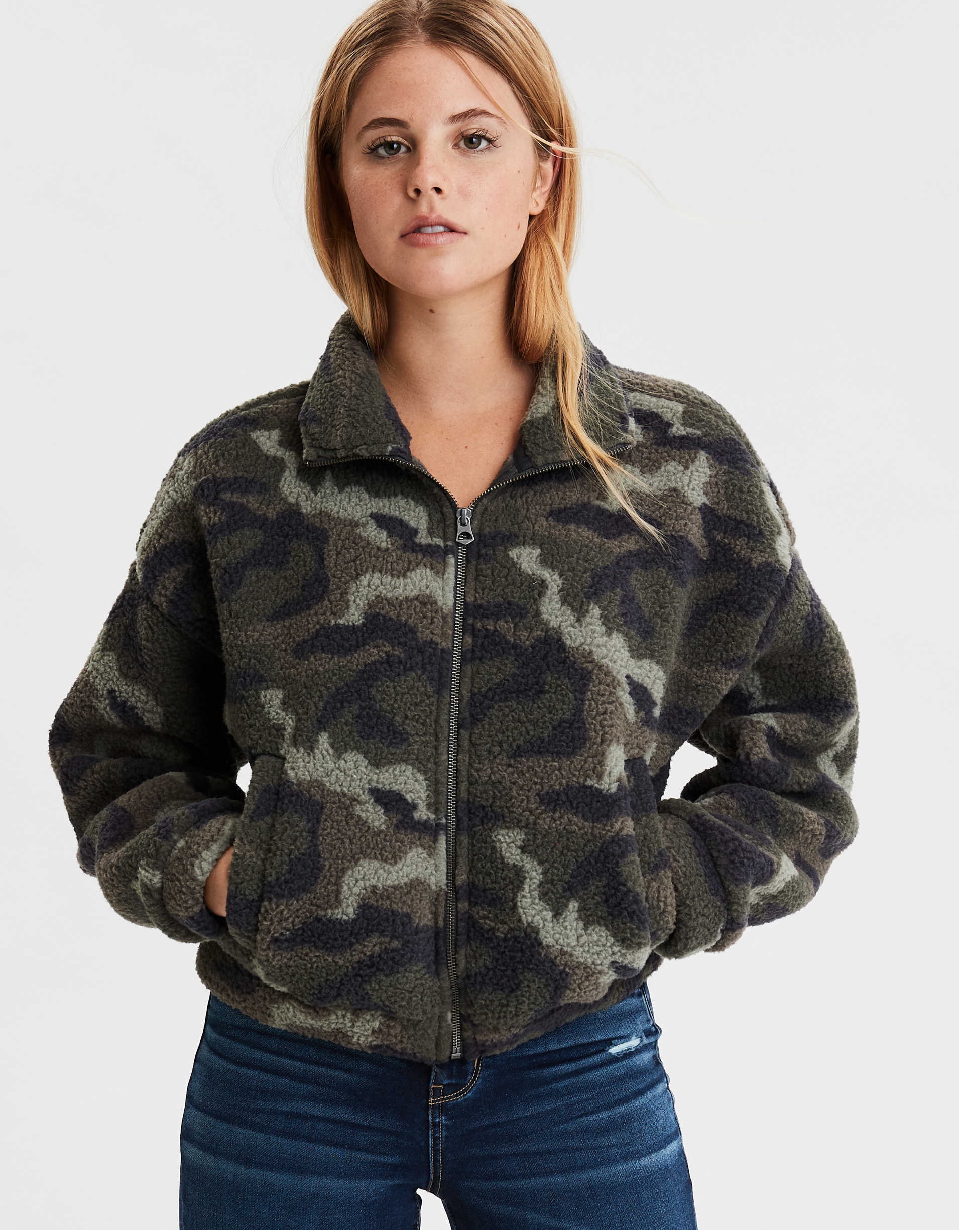Ae Fuzzy Sherpa Printed Zip Up Sweatshirt by American Eagle Outfitters
