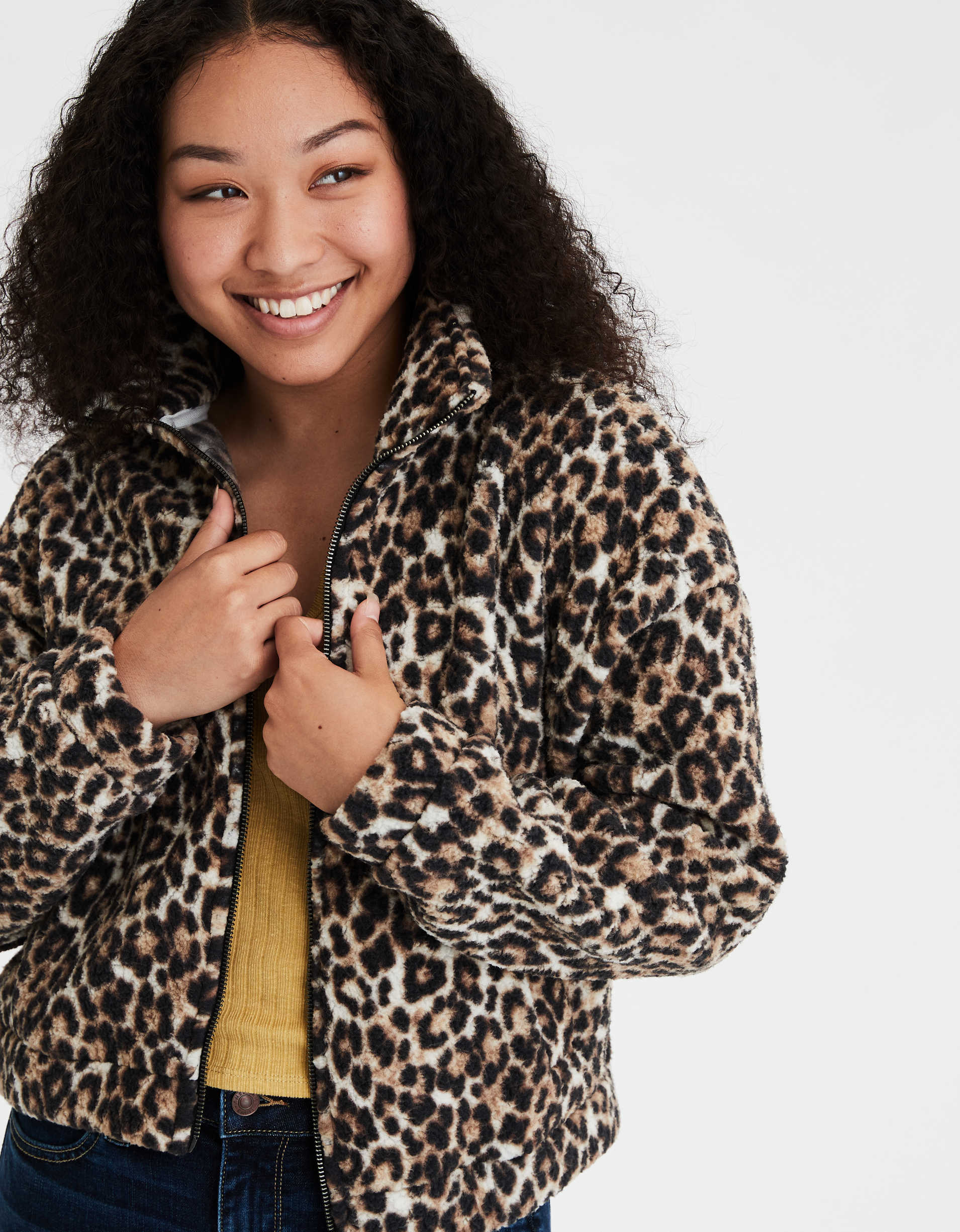 AE Fuzzy Sherpa Printed Zip Up Sweatshirt