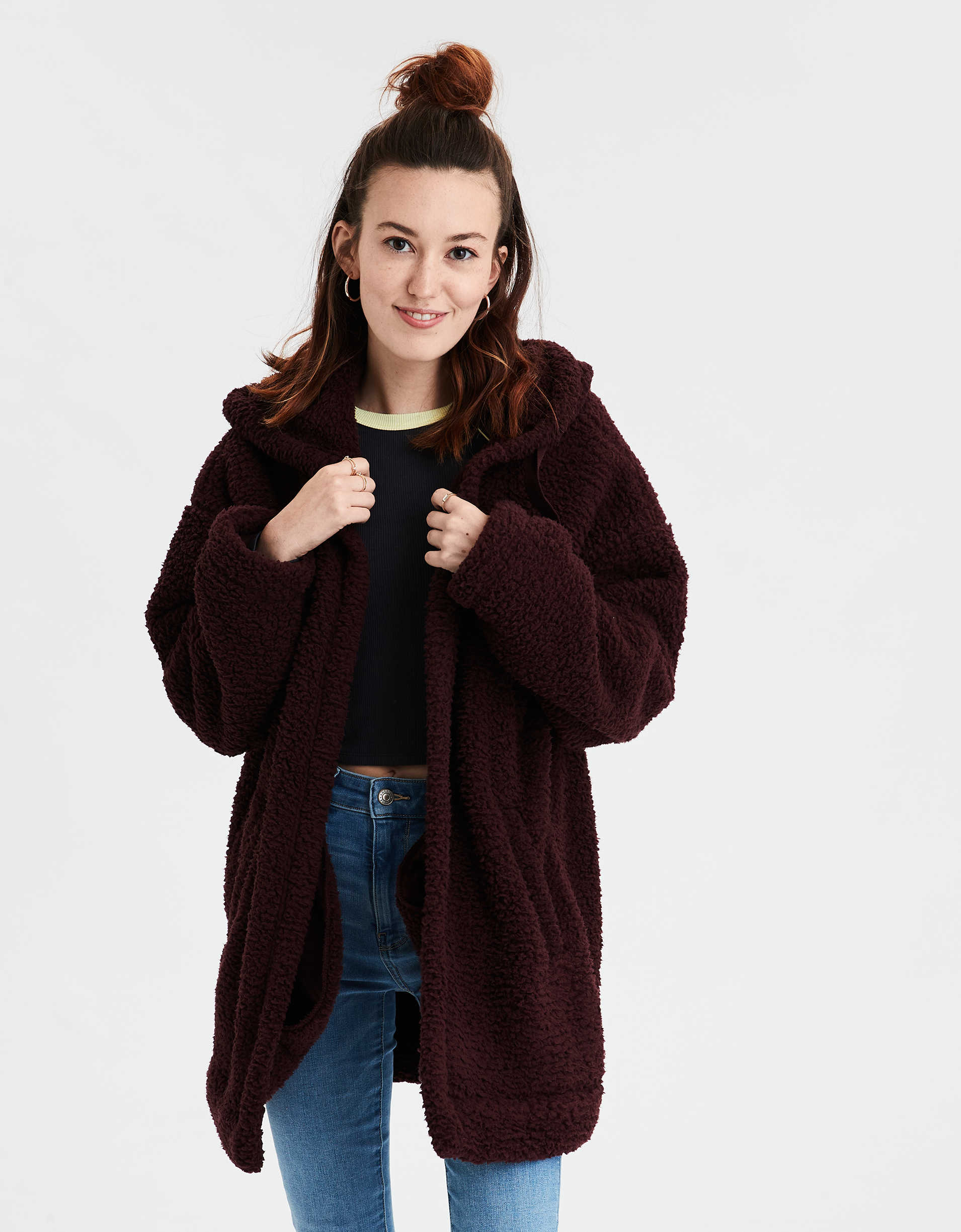 AE Fuzzy Sherpa Hooded Oversized Cardigan