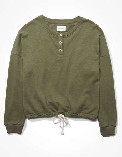 AE Fleece Cinched Henley Sweatshirt