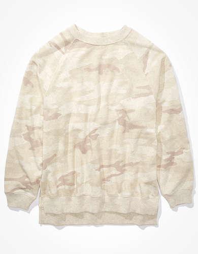 AE フリース オーバーサイズ クルーネックスウェットシャツ