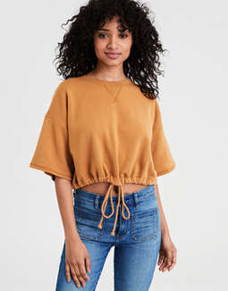 AE Short Sleeve Cropped Crew Neck Sweatshirt