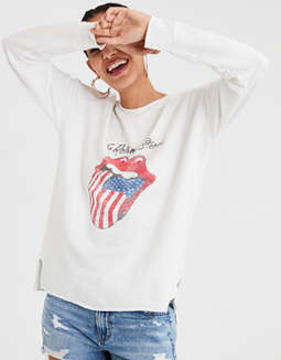 Ae Soft &Amp; Sexy Rolling Stones Graphic Crew by American Eagle Outfitters