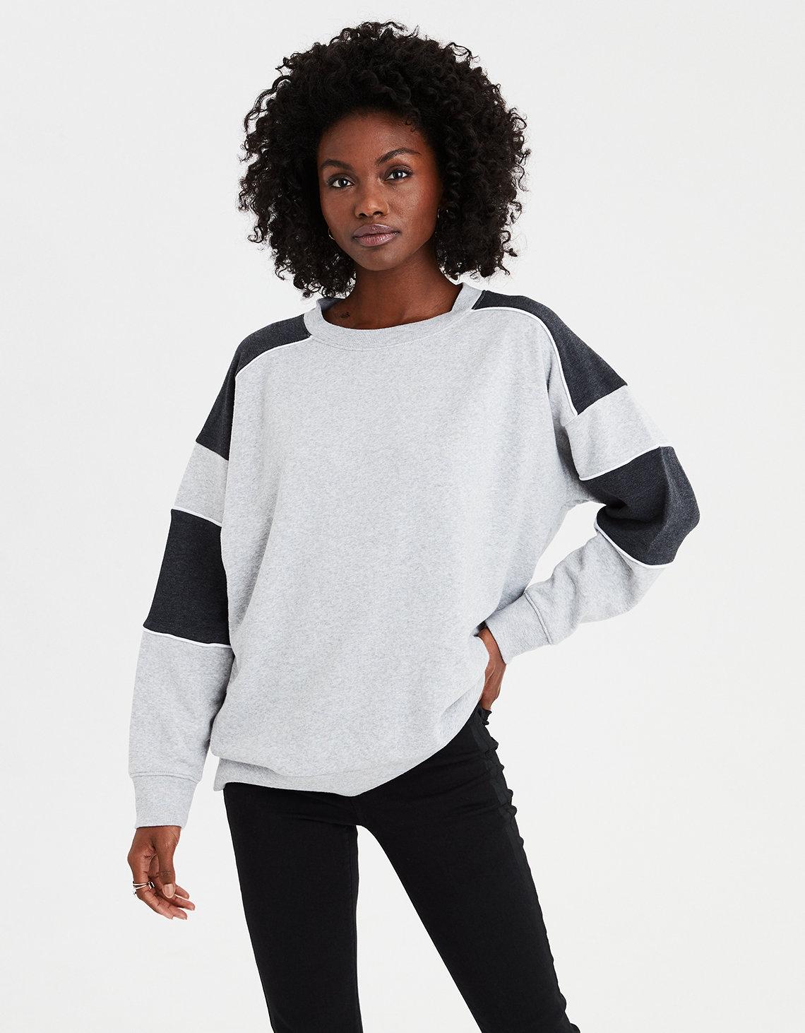 AE Ahhmazingly Soft Color Block Crewneck Sweatshirt. Placeholder image.  Product Image 0c2f06251