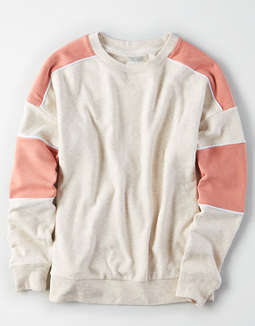 Ae Ahhmazingly Soft Color Block Crewneck Sweatshirt by American Eagle Outfitters