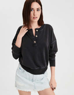 Ae Ahhmazingly Soft Henley Sweatshirt by American Eagle Outfitters