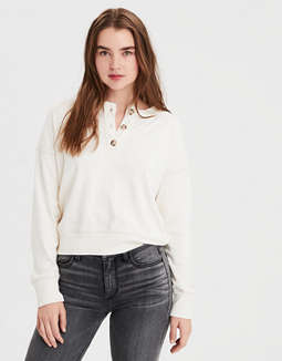 Ae Henley Crew Neck Sweatshirt by American Eagle Outfitters