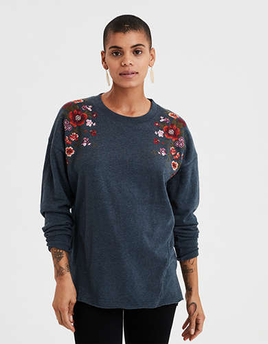 AE Ahh-mazingly Soft Oversized Embroidered Crew Neck Sweatshirt