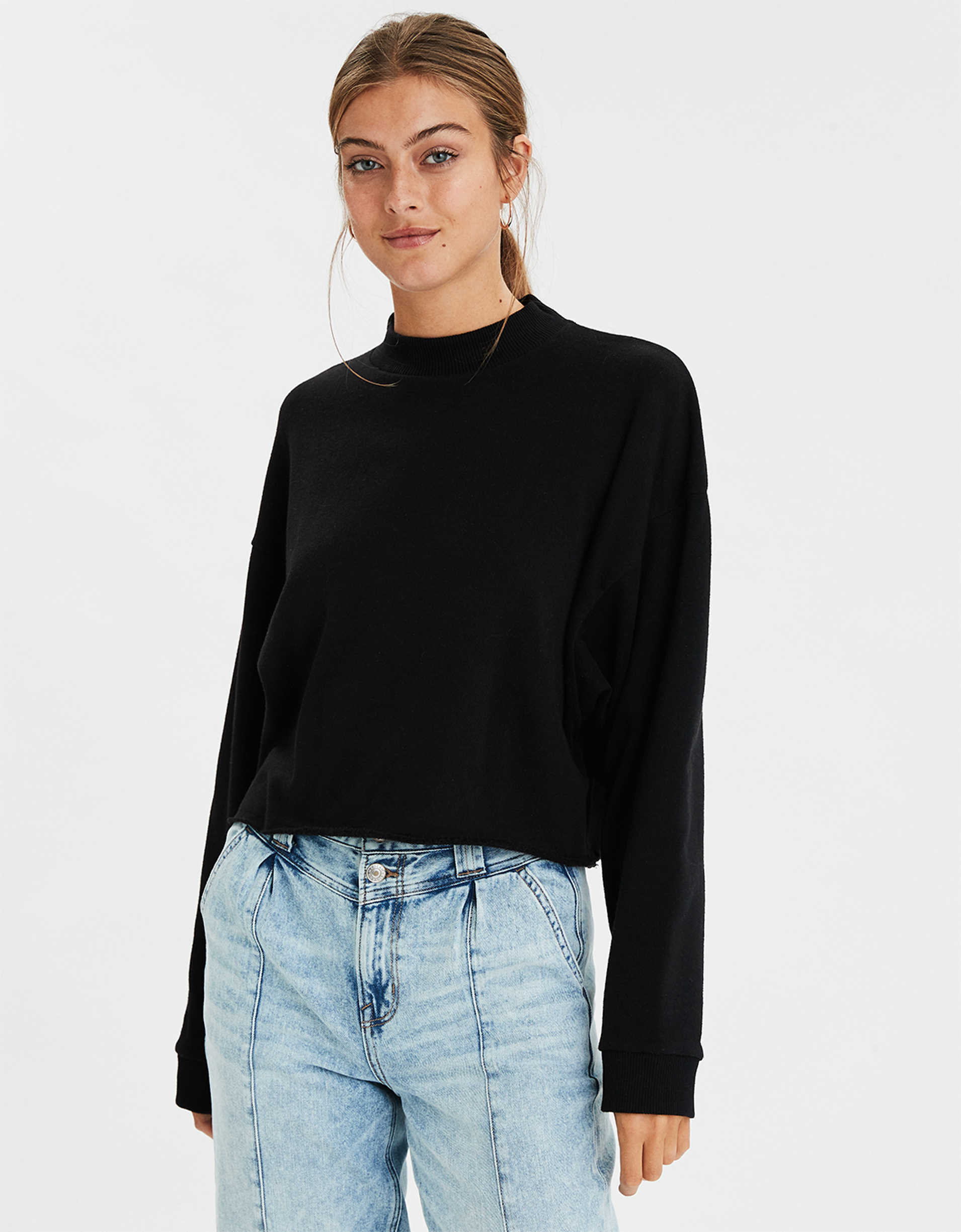 AE Fleece Mock Neck Sweatshirt