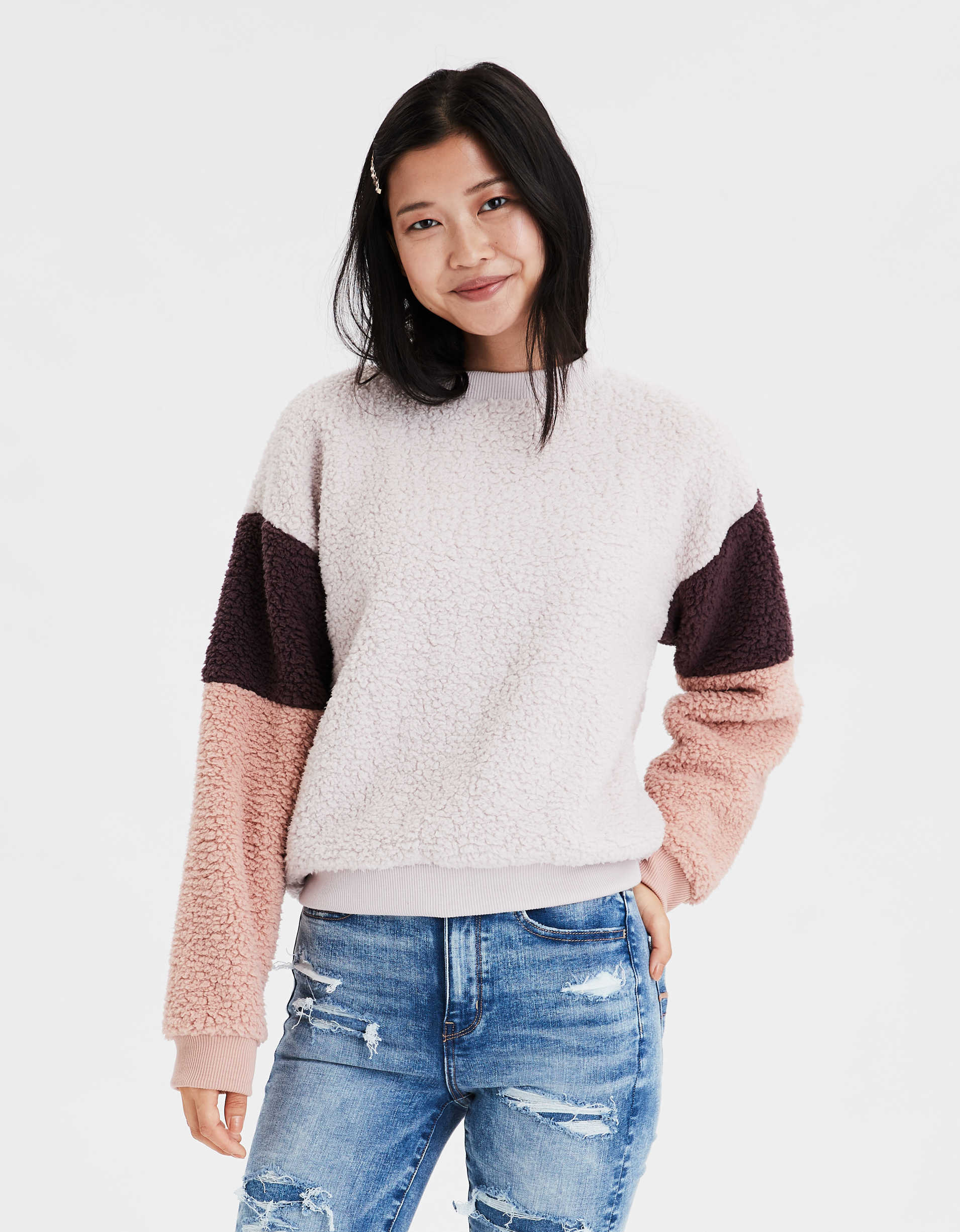 AE Fuzzy Sherpa Color Block Crew Neck Sweatshirt