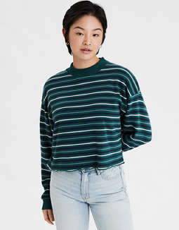 AE Fleece Mock Neck Cropped Sweatshirt