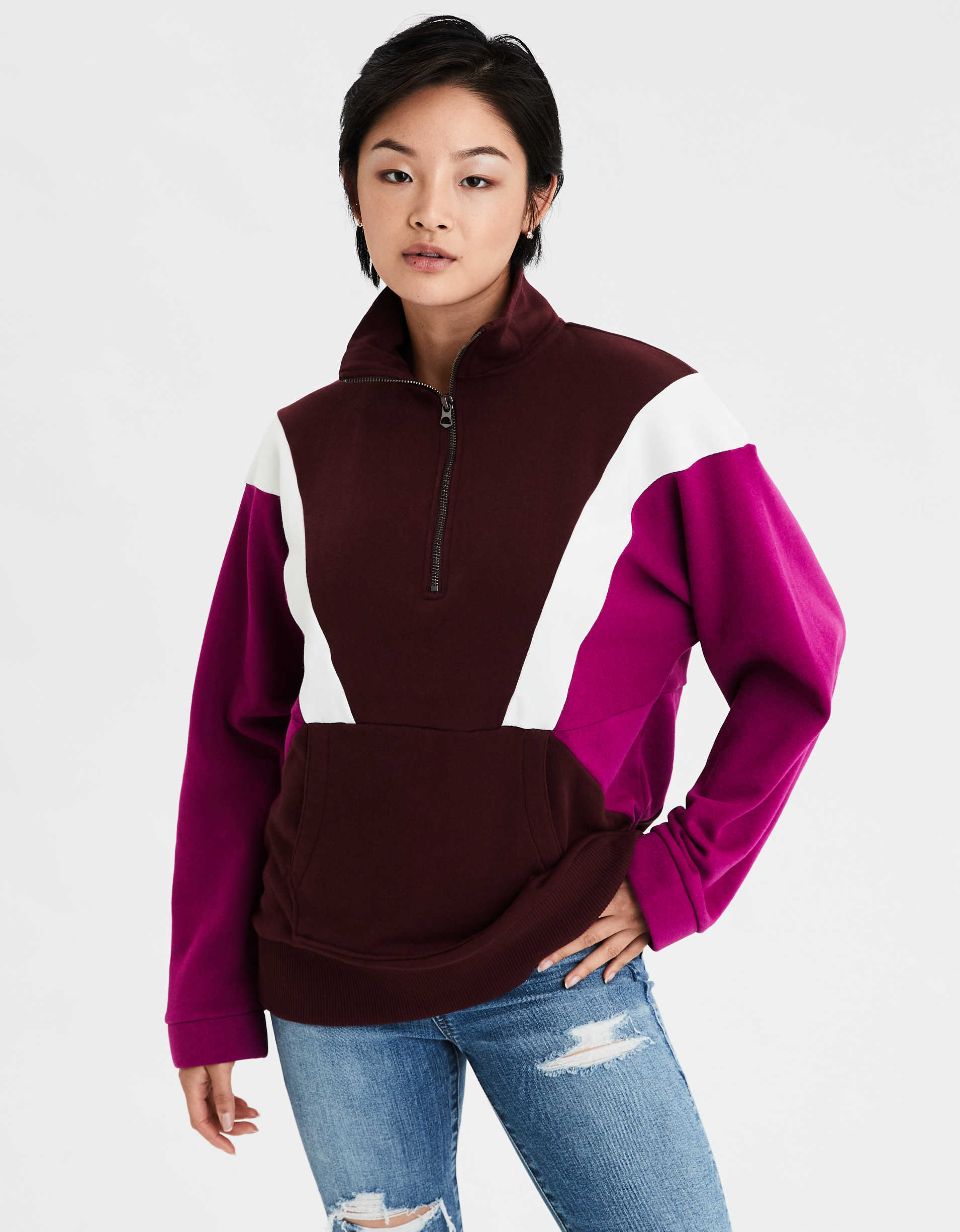 AE Color Block Half Zip Sweatshirt