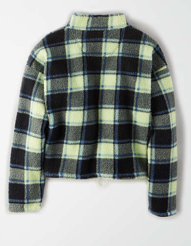 AE Fuzzy Sherpa Plaid Quarter Zip Sweatshirt