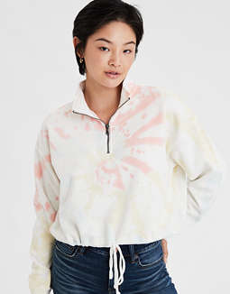 AE Fleece Quarter Zip Cinched Sweater