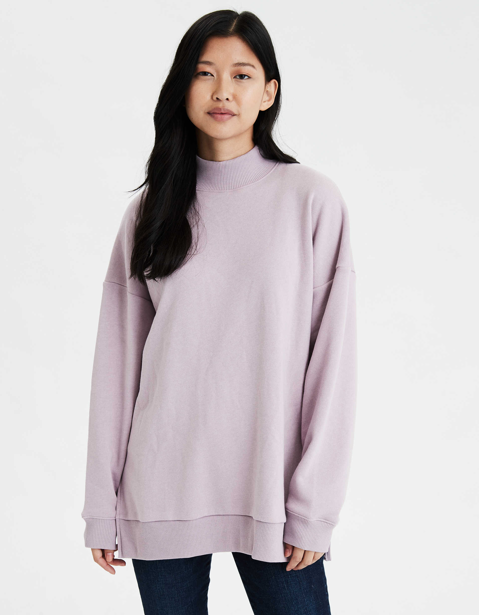 AE Fleece Mock Neck Oversized Sweatshirt