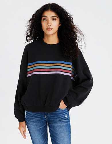 AE Fleece Striped Boxy Cropped Sweatshirt