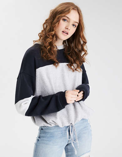 AE Fleece Cinched Crew Neck Sweatshirt
