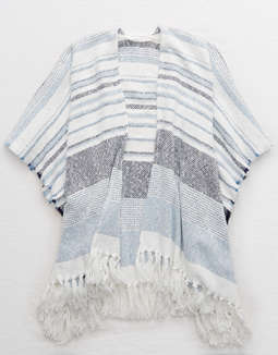 b13283333e648 Shoptagr   Aerie Striped Poncho by American Eagle Outfitters