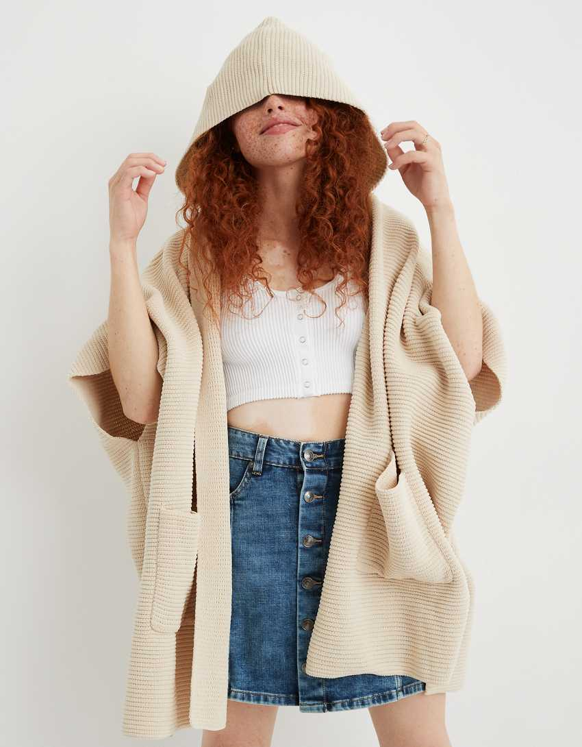 Aerie Hooded Sweater Poncho