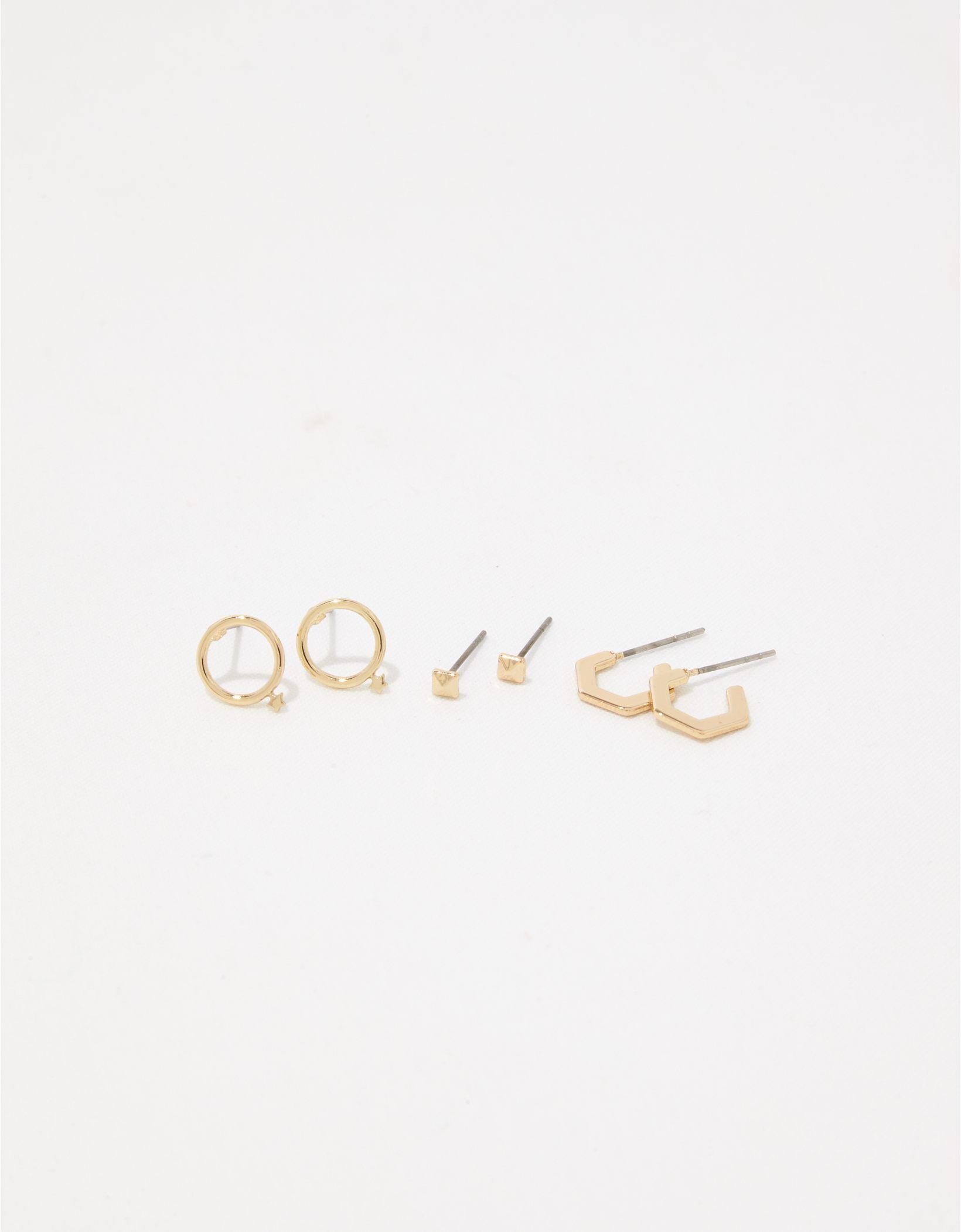 Aerie Metal Simple Hex Earring 3-Pack