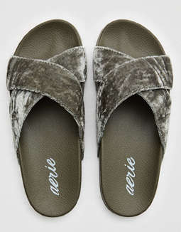 Aerie Velvet Criss Cross Slides