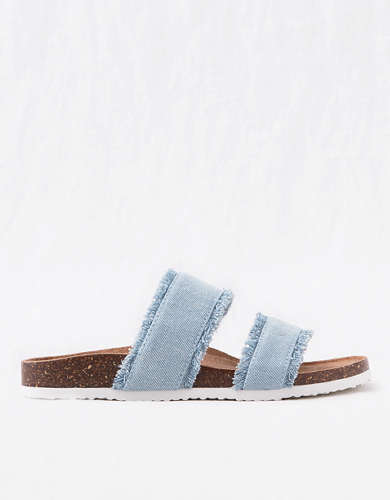 Aerie Double Strap Denim Slides