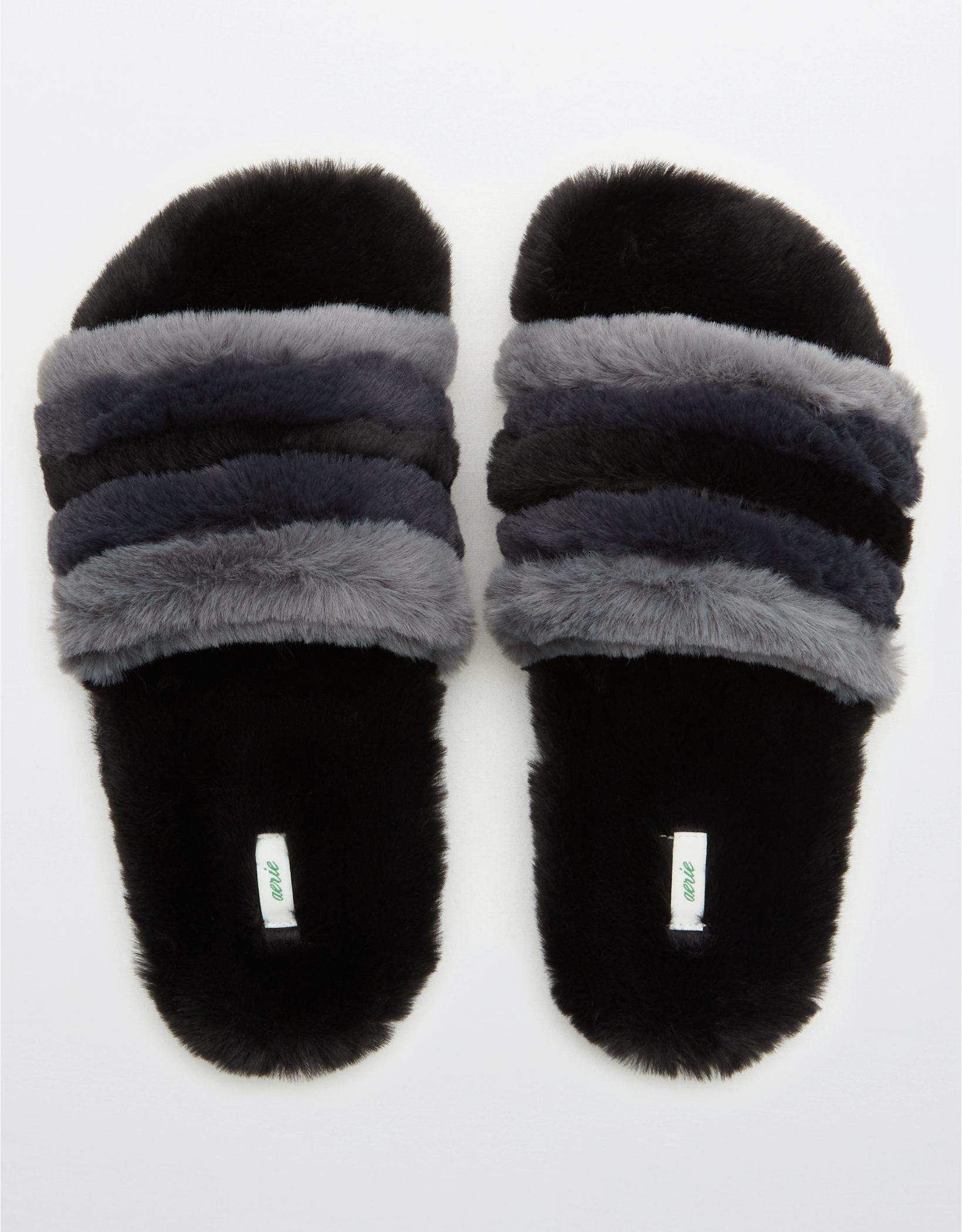 Aerie Striped Fur Slides