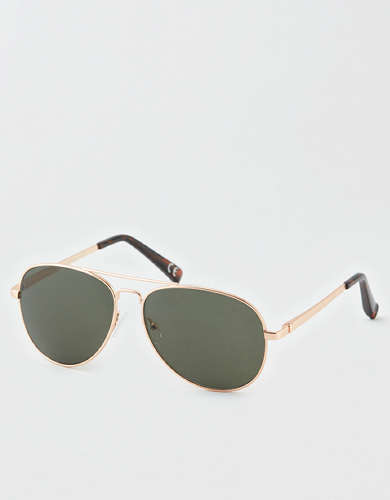 AEO Gold Aviator Sunglasses