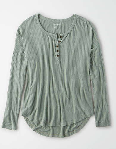 AE Long Sleeve Henley T-Shirt