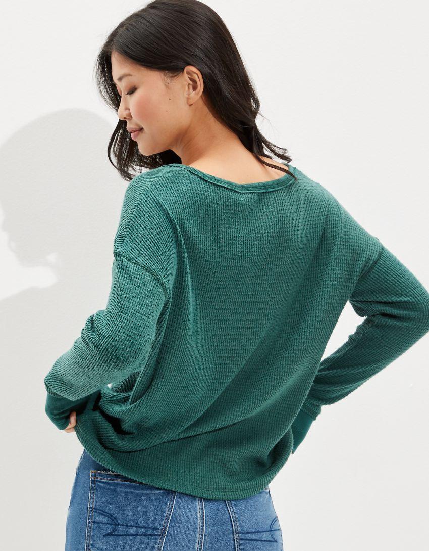 AE Soft & Sexy Plush Long-Sleeve V-Neck T-Shirt