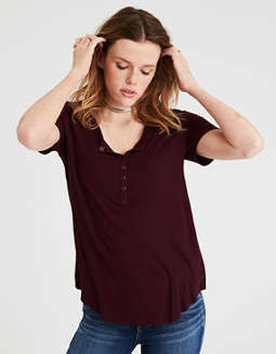 Ae Soft &Amp; Sexy Short Sleeve Henley T Shirt by American Eagle Outfitters