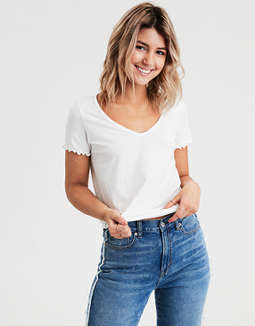 4bb6174f9dab AE Lettuce Edge V-Neck T-Shirt