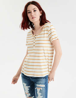 AE Short Sleeve Ribbed Henley T-Shirt